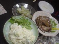 ポテトサラダ、ザーサイの和風漬け、手羽先